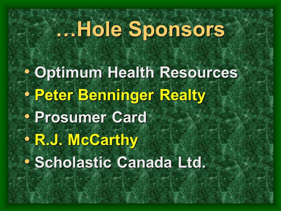 …Hole Sponsors Optimum Health Resources Optimum Health Resources Peter Benninger Realty Peter Benninger Realty Prosumer Card Prosumer Card R.J. McCart