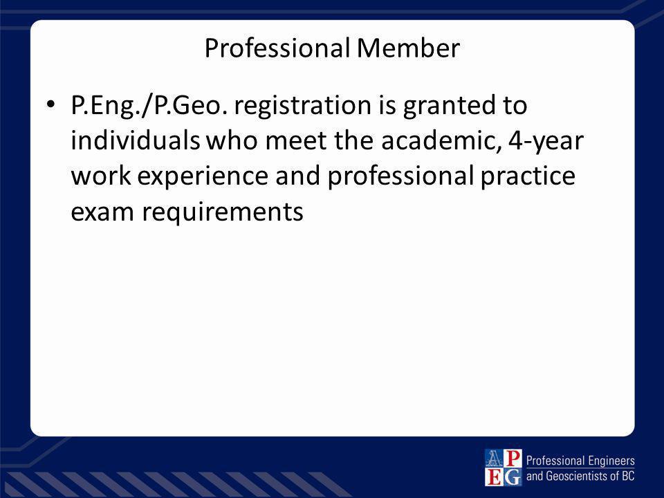 Professional Member P.Eng./P.Geo.