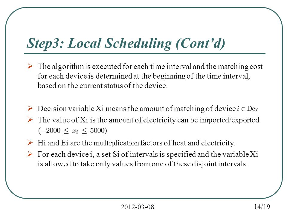 2012-03-08 14/19 Step3: Local Scheduling (Cont'd)  The algorithm is executed for each time interval and the matching cost for each device is determined at the beginning of the time interval, based on the current status of the device.