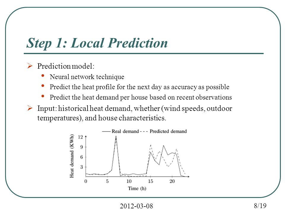 2012-03-08 8/19 Step 1: Local Prediction  Prediction model: Neural network technique Predict the heat profile for the next day as accuracy as possible Predict the heat demand per house based on recent observations  Input: historical heat demand, whether (wind speeds, outdoor temperatures), and house characteristics.