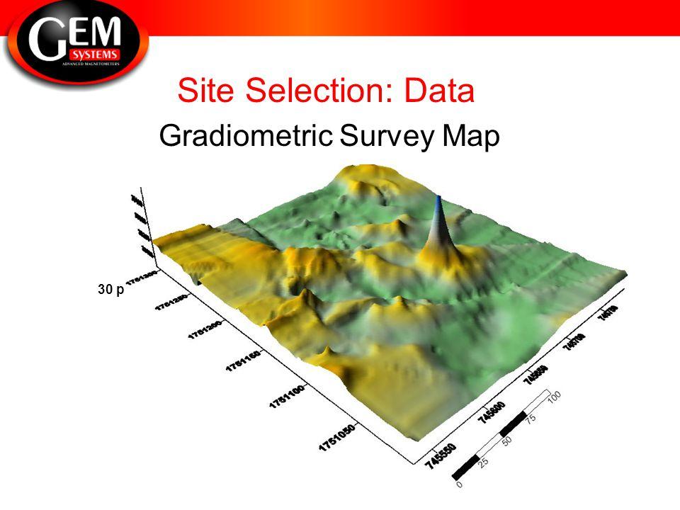 Site Selection: Data 30 pT Gradiometric Survey Map