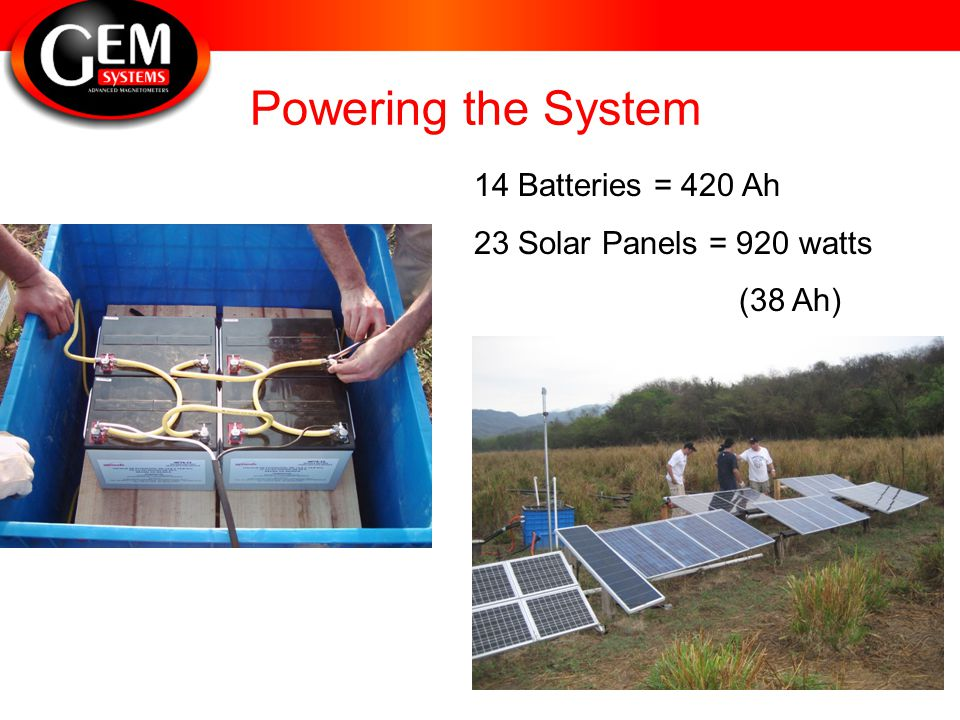 Powering the System 14 Batteries = 420 Ah 23 Solar Panels = 920 watts (38 Ah)