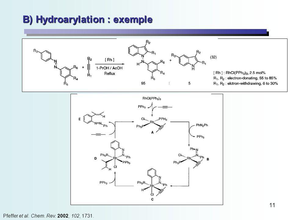 11 B) Hydroarylation : exemple Pfeffer et al. Chem. Rev. 2002, 102, 1731.