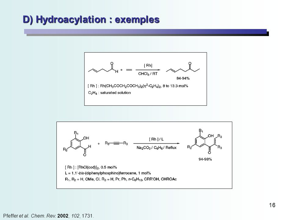 16 D) Hydroacylation : exemples Pfeffer et al. Chem. Rev. 2002, 102, 1731.