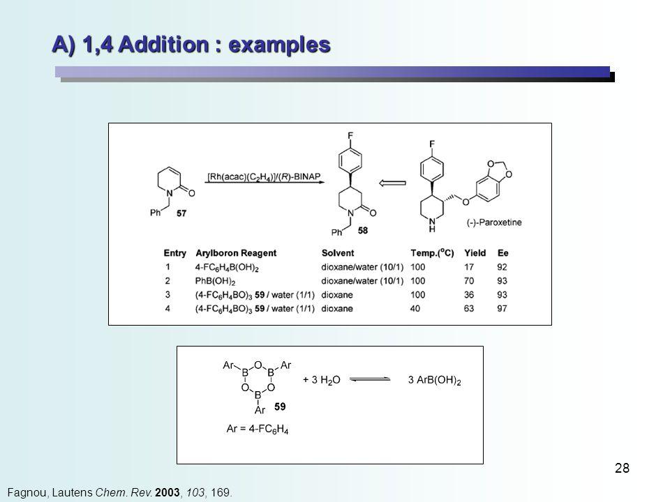 28 A) 1,4 Addition : examples Fagnou, Lautens Chem. Rev. 2003, 103, 169.