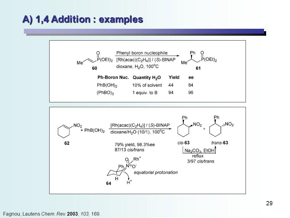 29 A) 1,4 Addition : examples Fagnou, Lautens Chem. Rev. 2003, 103, 169.