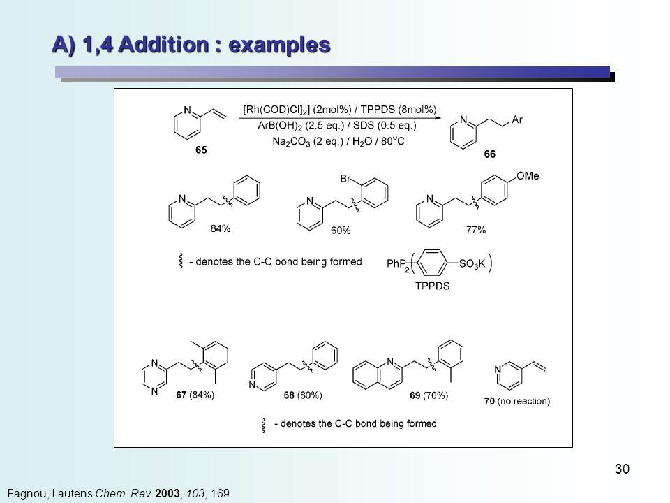30 Fagnou, Lautens Chem. Rev. 2003, 103, 169. A) 1,4 Addition : examples
