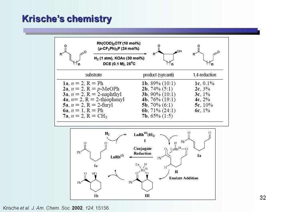 32 Krische's chemistry Krische et al. J. Am. Chem. Soc. 2002, 124, 15156.