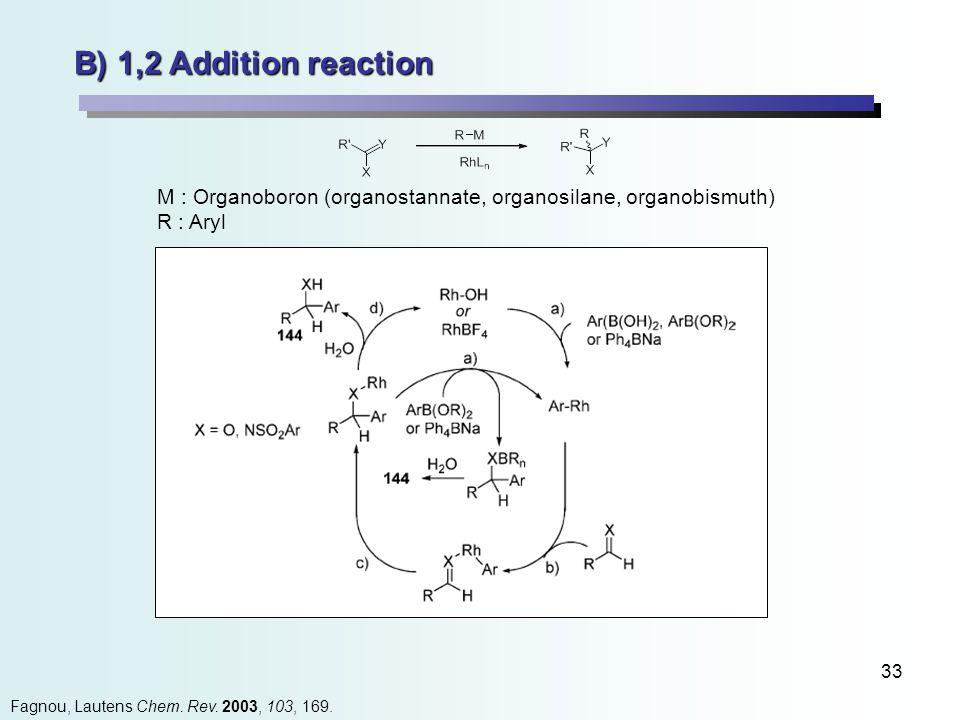 33 B) 1,2 Addition reaction Fagnou, Lautens Chem. Rev.