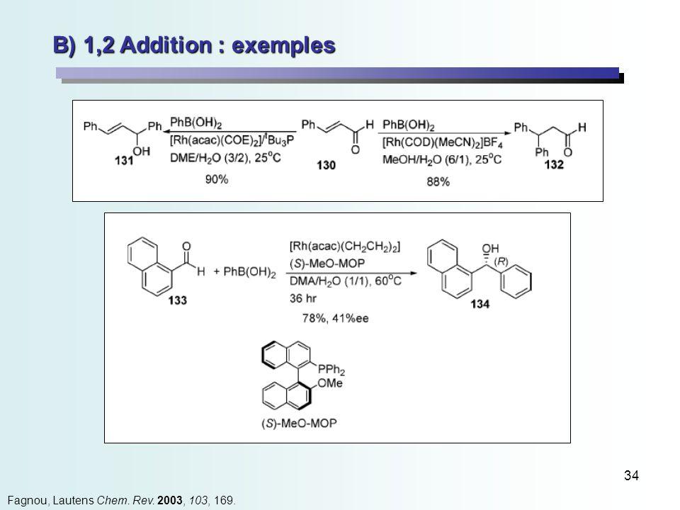 34 B) 1,2 Addition : exemples Fagnou, Lautens Chem. Rev. 2003, 103, 169.