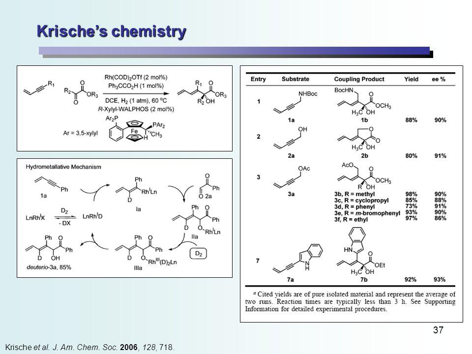 37 Krische's chemistry Krische et al. J. Am. Chem. Soc. 2006, 128, 718.