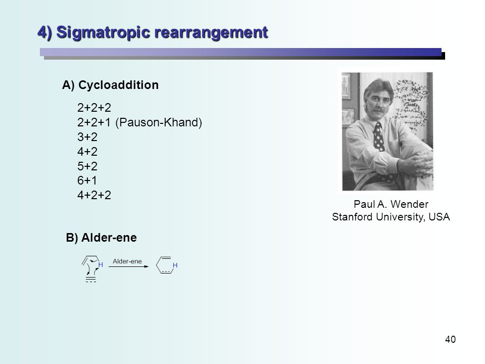 40 4) Sigmatropic rearrangement A) Cycloaddition B) Alder-ene 2+2+2 2+2+1 (Pauson-Khand) 3+2 4+2 5+2 6+1 4+2+2 Paul A.