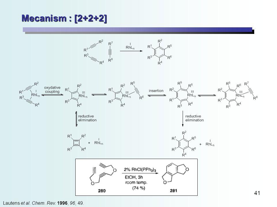 41 Mecanism : [2+2+2] Lautens et al. Chem. Rev. 1996, 96, 49.