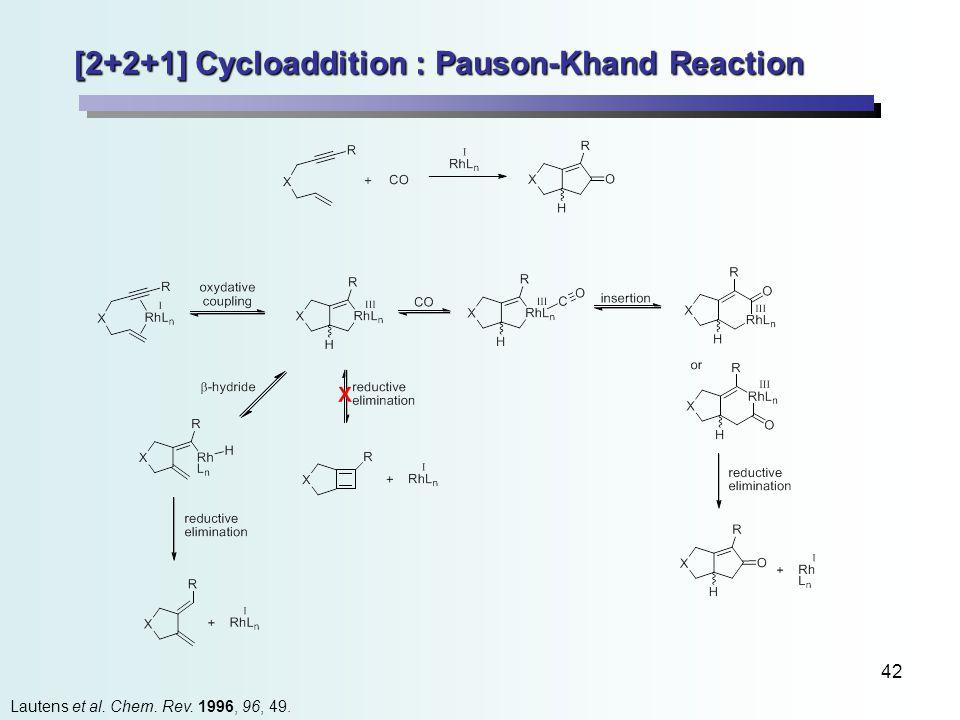 42 [2+2+1] Cycloaddition : Pauson-Khand Reaction Lautens et al. Chem. Rev. 1996, 96, 49.
