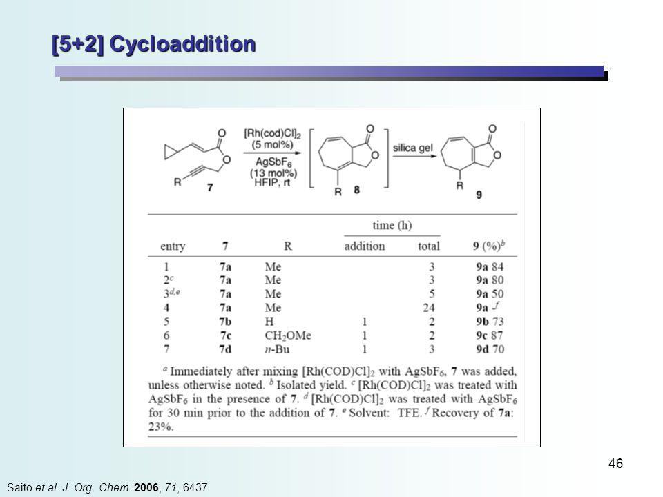 46 [5+2] Cycloaddition Saito et al. J. Org. Chem. 2006, 71, 6437.