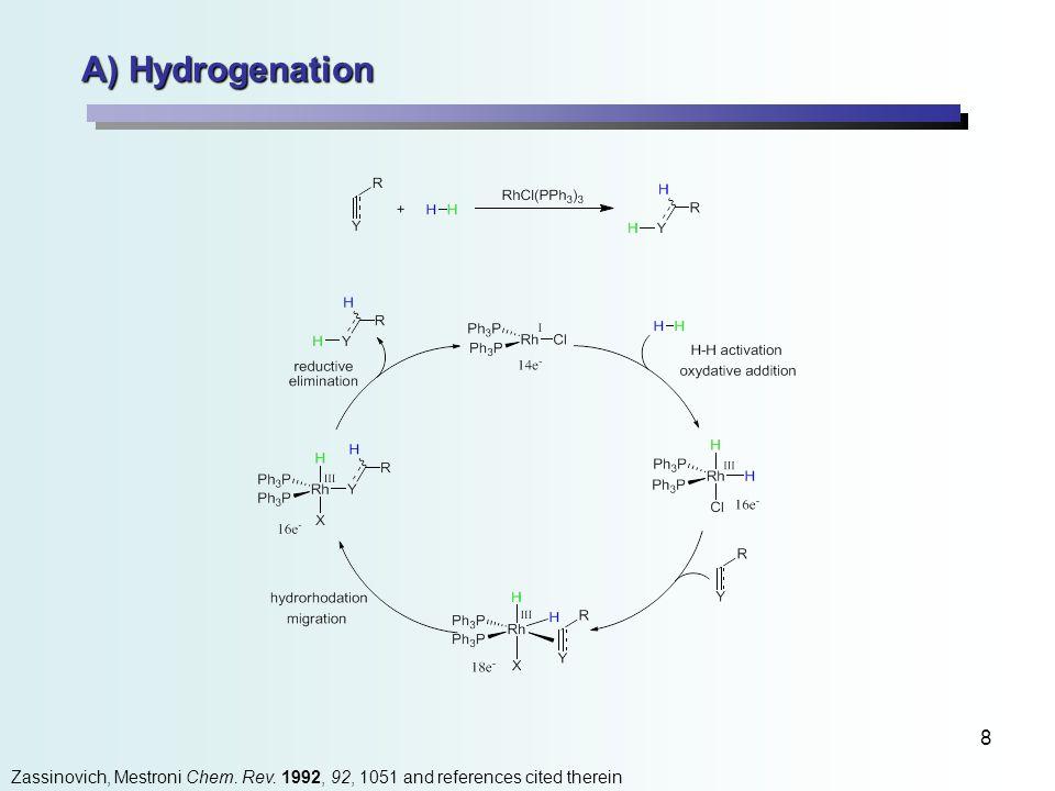 8 A) Hydrogenation Zassinovich, Mestroni Chem. Rev. 1992, 92, 1051 and references cited therein