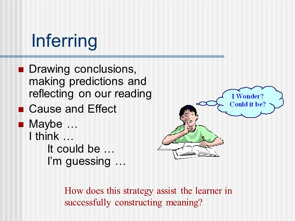 Inferring Drawing conclusions, making predictions and reflecting on our reading Cause and Effect Maybe … I think … It could be … I'm guessing … How does this strategy assist the learner in successfully constructing meaning?