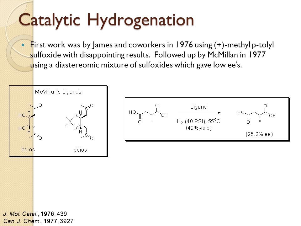 Catalytic Hydrogenation First work was by James and coworkers in 1976 using (+)-methyl p-tolyl sulfoxide with disappointing results.