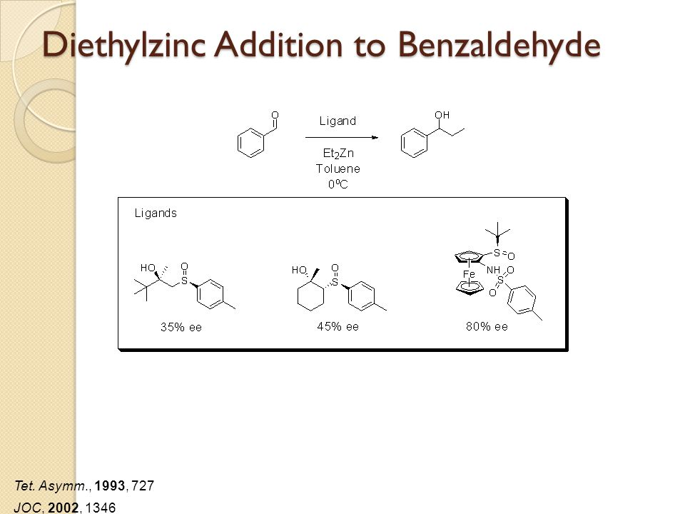 Diethylzinc Addition to Benzaldehyde Tet. Asymm., 1993, 727 JOC, 2002, 1346