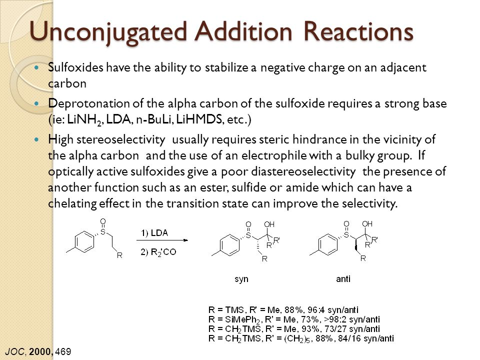 Unconjugated Addition Reactions Sulfoxides have the ability to stabilize a negative charge on an adjacent carbon Deprotonation of the alpha carbon of the sulfoxide requires a strong base (ie: LiNH 2, LDA, n-BuLi, LiHMDS, etc.) High stereoselectivity usually requires steric hindrance in the vicinity of the alpha carbon and the use of an electrophile with a bulky group.