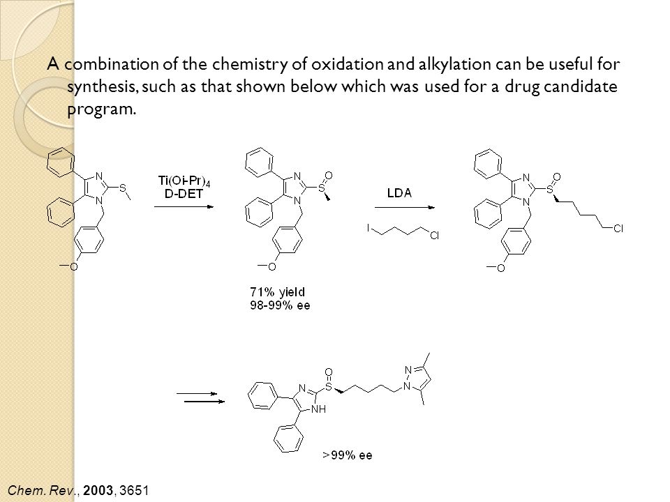 A combination of the chemistry of oxidation and alkylation can be useful for synthesis, such as that shown below which was used for a drug candidate program.