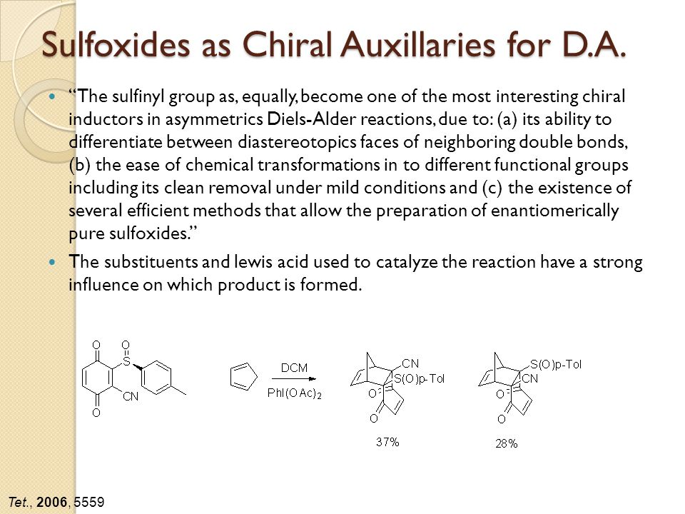 Sulfoxides as Chiral Auxillaries for D.A.