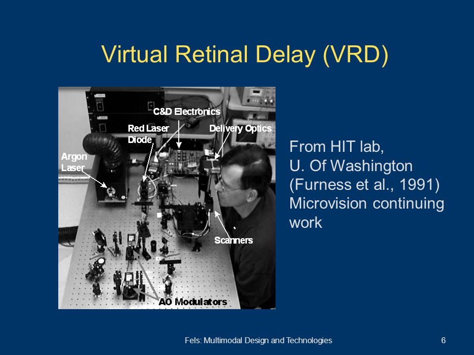 Fels: Multimodal Design and Technologies 6 Virtual Retinal Delay (VRD) From HIT lab, U. Of Washington (Furness et al., 1991) Microvision continuing wo