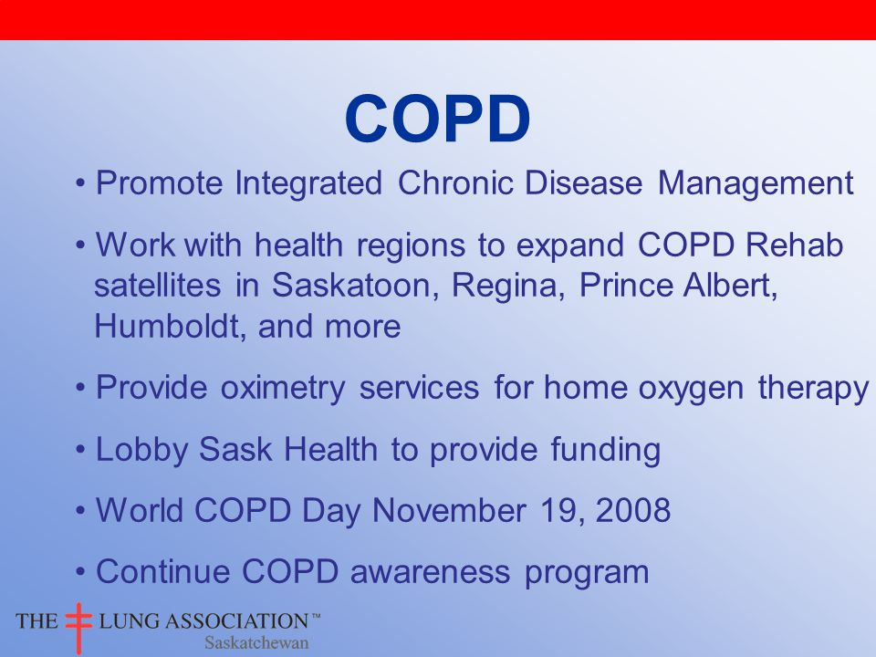 COPD Promote Integrated Chronic Disease Management Work with health regions to expand COPD Rehab satellites in Saskatoon, Regina, Prince Albert, Humboldt, and more Provide oximetry services for home oxygen therapy Lobby Sask Health to provide funding World COPD Day November 19, 2008 Continue COPD awareness program