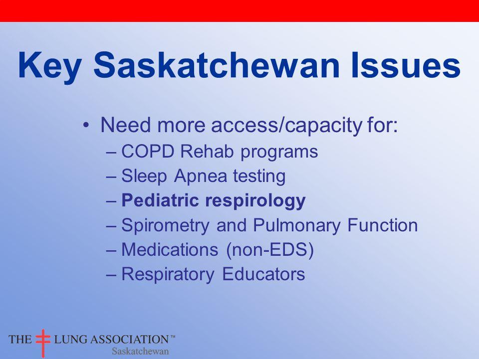 Need more access/capacity for: –COPD Rehab programs –Sleep Apnea testing –Pediatric respirology –Spirometry and Pulmonary Function –Medications (non-E