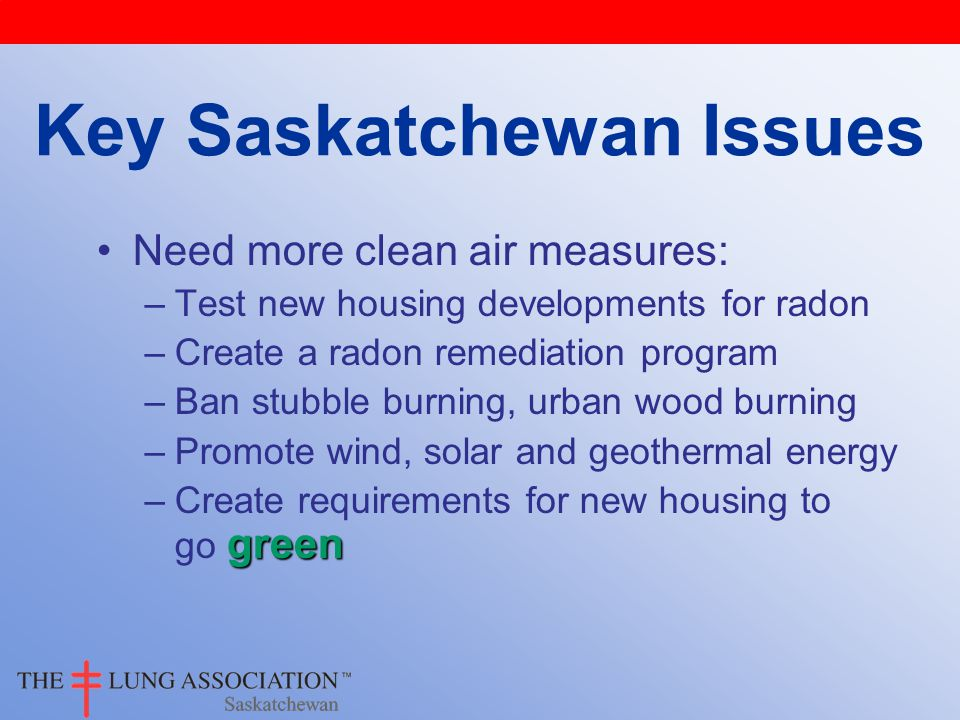 Need more clean air measures: –Test new housing developments for radon –Create a radon remediation program –Ban stubble burning, urban wood burning –Promote wind, solar and geothermal energy green –Create requirements for new housing to go green Key Saskatchewan Issues