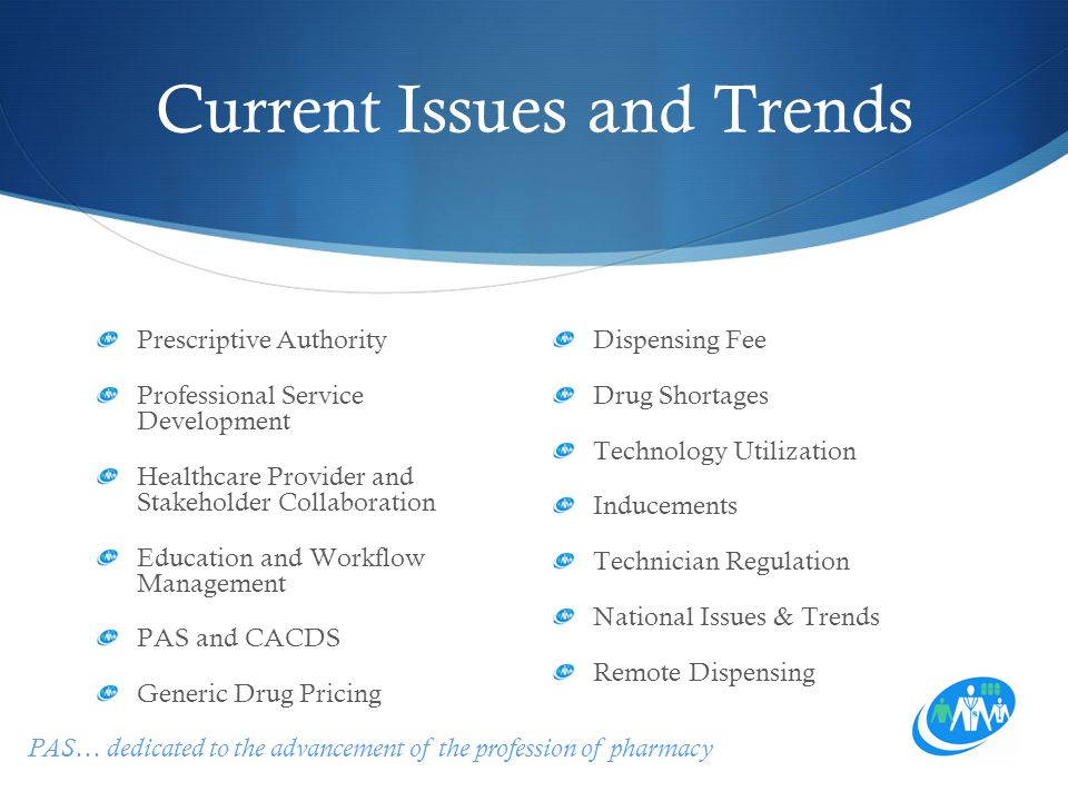 PAS… dedicated to the advancement of the profession of pharmacy Current Issues and Trends Prescriptive Authority Professional Service Development Healthcare Provider and Stakeholder Collaboration Education and Workflow Management PAS and CACDS Generic Drug Pricing Dispensing Fee Drug Shortages Technology Utilization Inducements Technician Regulation National Issues & Trends Remote Dispensing