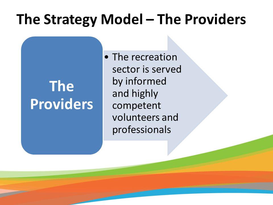 The recreation sector is served by informed and highly competent volunteers and professionals The Providers The Strategy Model – The Providers