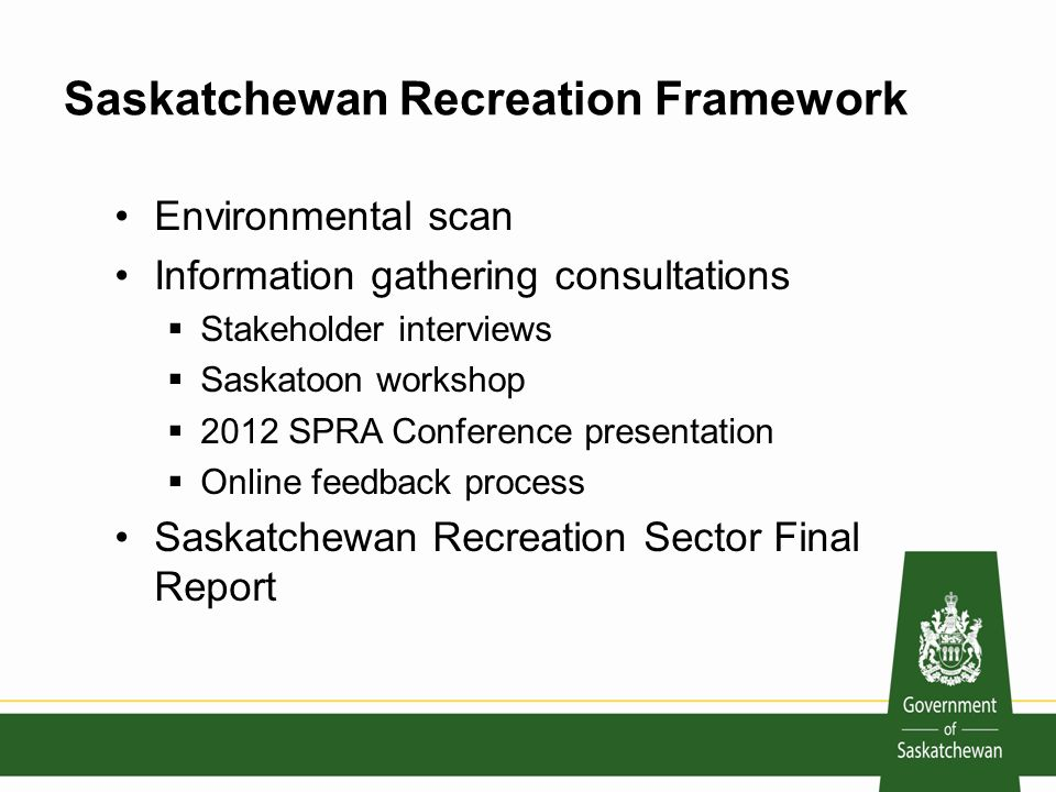 Saskatchewan Recreation Framework Environmental scan Information gathering consultations  Stakeholder interviews  Saskatoon workshop  2012 SPRA Conference presentation  Online feedback process Saskatchewan Recreation Sector Final Report