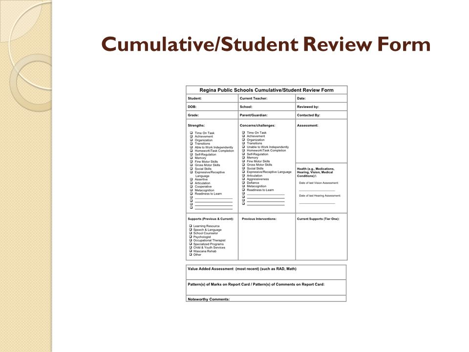 Cumulative/Student Review Form