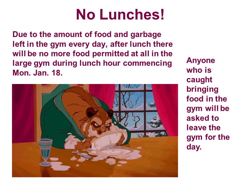 No Lunches.