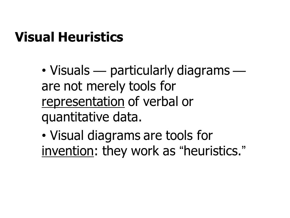 Visual Heuristics Visuals — particularly diagrams — are not merely tools for representation of verbal or quantitative data.