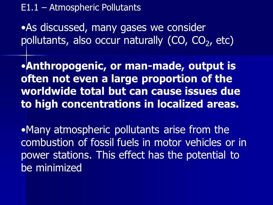 E1.1 – Sources of Pollutants