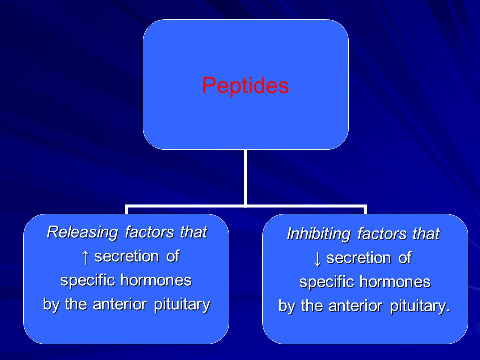 Peptides Releasing factors that ↑ secretion of ↑ secretion of specific hormones by the anterior pituitary Inhibiting factors that ↓ secretion of speci