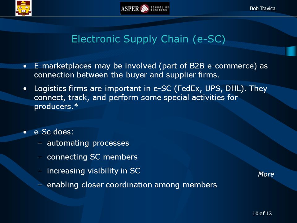 Bob Travica Electronic Supply Chain (e-SC) E-marketplaces may be involved (part of B2B e-commerce) as connection between the buyer and supplier firms.