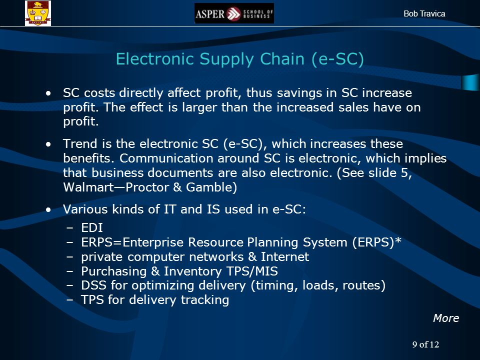 Bob Travica Electronic Supply Chain (e-SC) SC costs directly affect profit, thus savings in SC increase profit.