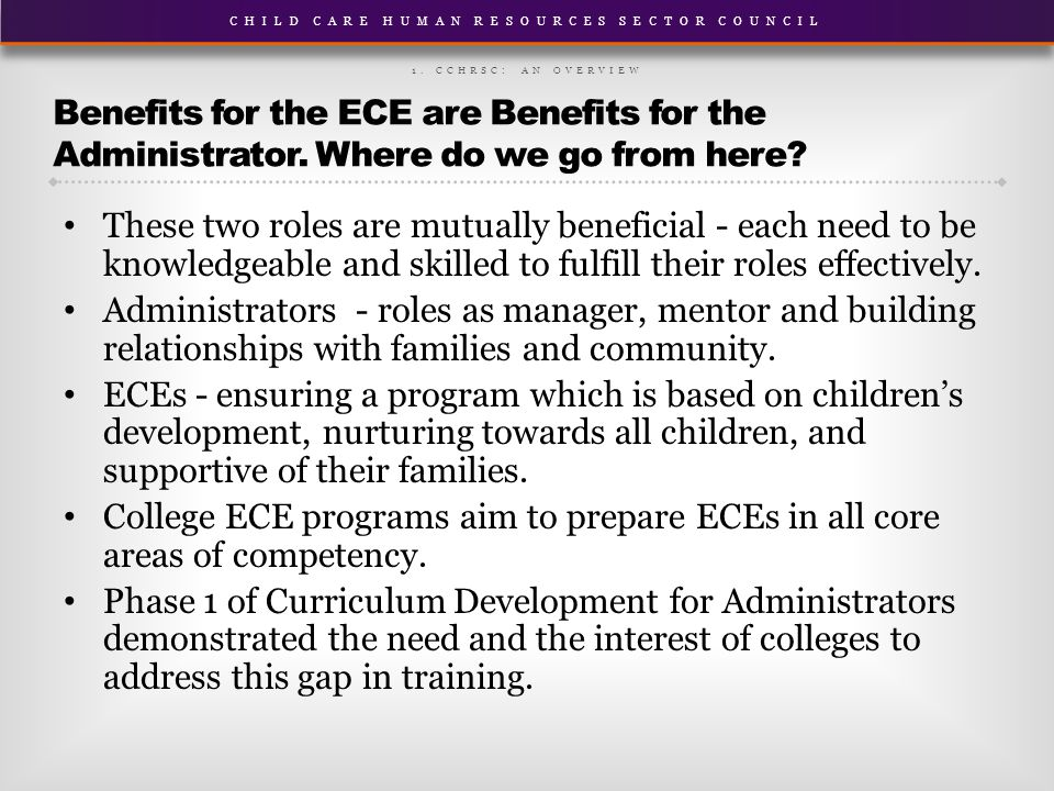 CHILD CARE HUMAN RESOURCES SECTOR COUNCIL Benefits for the ECE are Benefits for the Administrator.