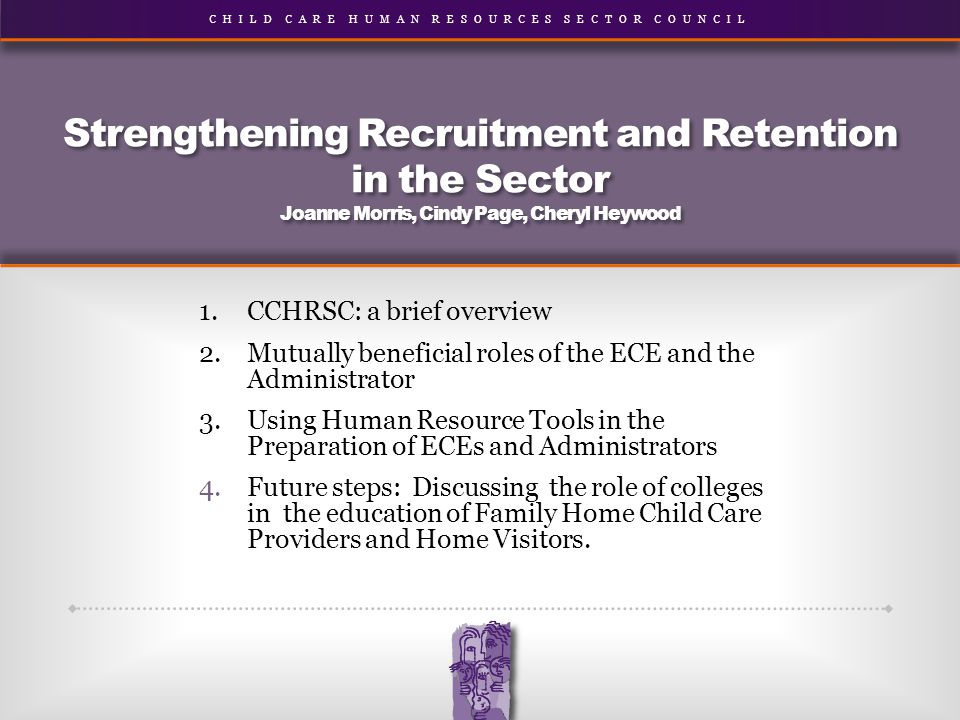 CHILD CARE HUMAN RESOURCES SECTOR COUNCIL Strengthening Recruitment and Retention in the Sector Joanne Morris, Cindy Page, Cheryl Heywood 1.CCHRSC: a brief overview 2.Mutually beneficial roles of the ECE and the Administrator 3.Using Human Resource Tools in the Preparation of ECEs and Administrators 4.Future steps: Discussing the role of colleges in the education of Family Home Child Care Providers and Home Visitors.