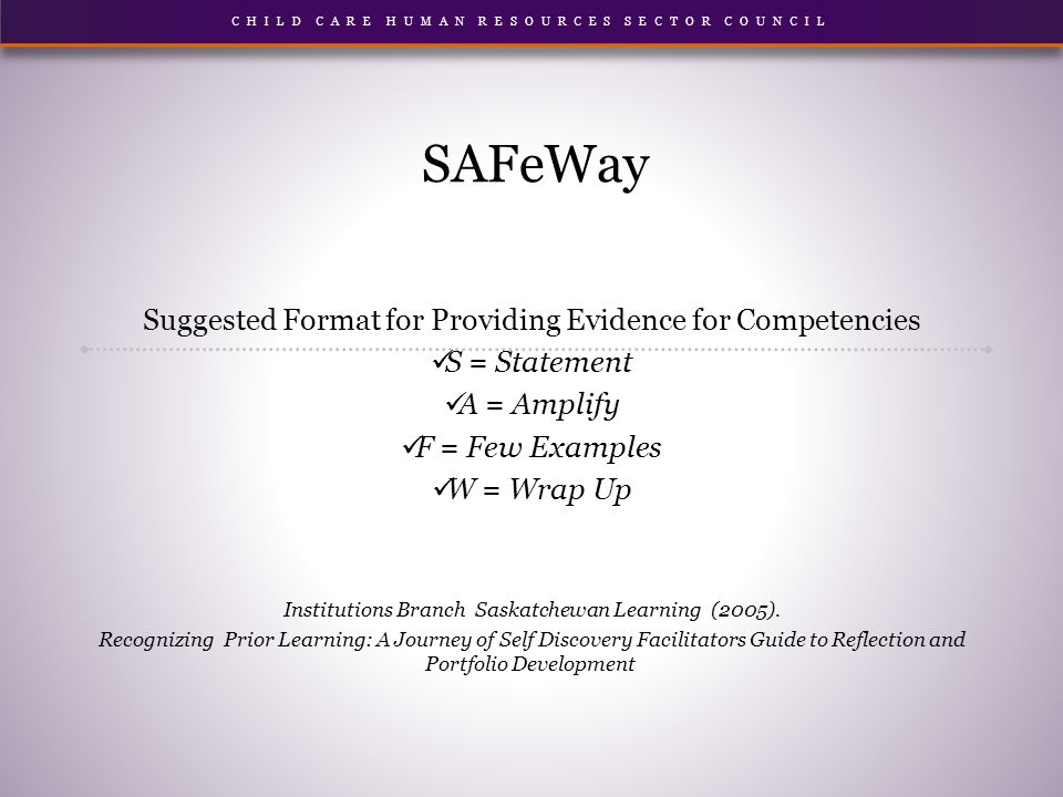 SAFeWay Suggested Format for Providing Evidence for Competencies S = Statement A = Amplify F = Few Examples W = Wrap Up Institutions Branch Saskatchewan Learning (2005).
