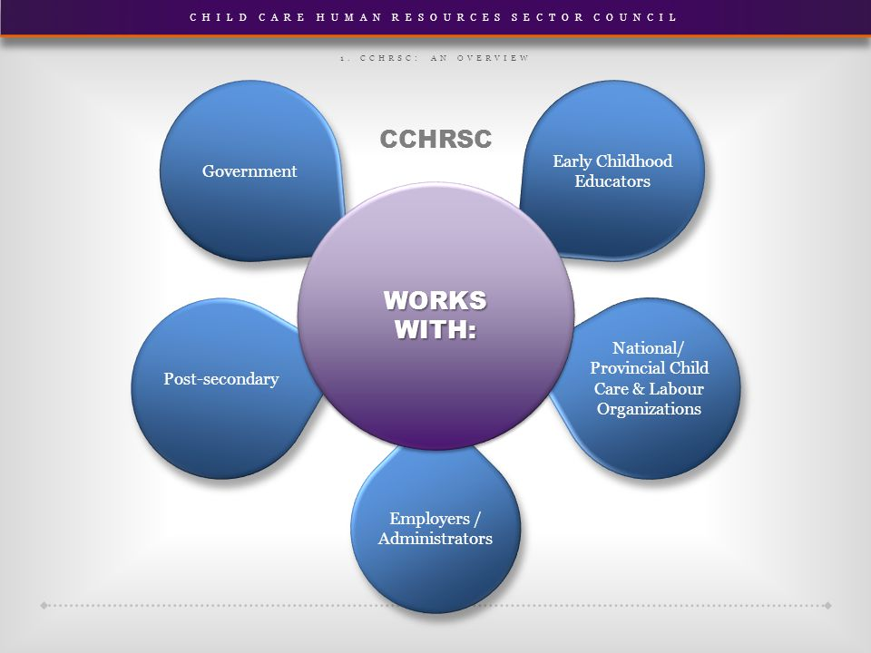 CHILD CARE HUMAN RESOURCES SECTOR COUNCIL Employers / Administrators Early Childhood Educators National/ Provincial Child Care & Labour Organizations Government Post-secondary WORKS WITH: 1.