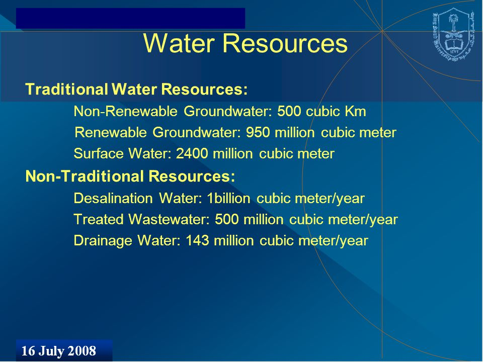 Water Resources Traditional Water Resources: Non-Renewable Groundwater: 500 cubic Km Renewable Groundwater: 950 million cubic meter Surface Water: 2400 million cubic meter Non-Traditional Resources: Desalination Water: 1billion cubic meter/year Treated Wastewater: 500 million cubic meter/year Drainage Water: 143 million cubic meter/year