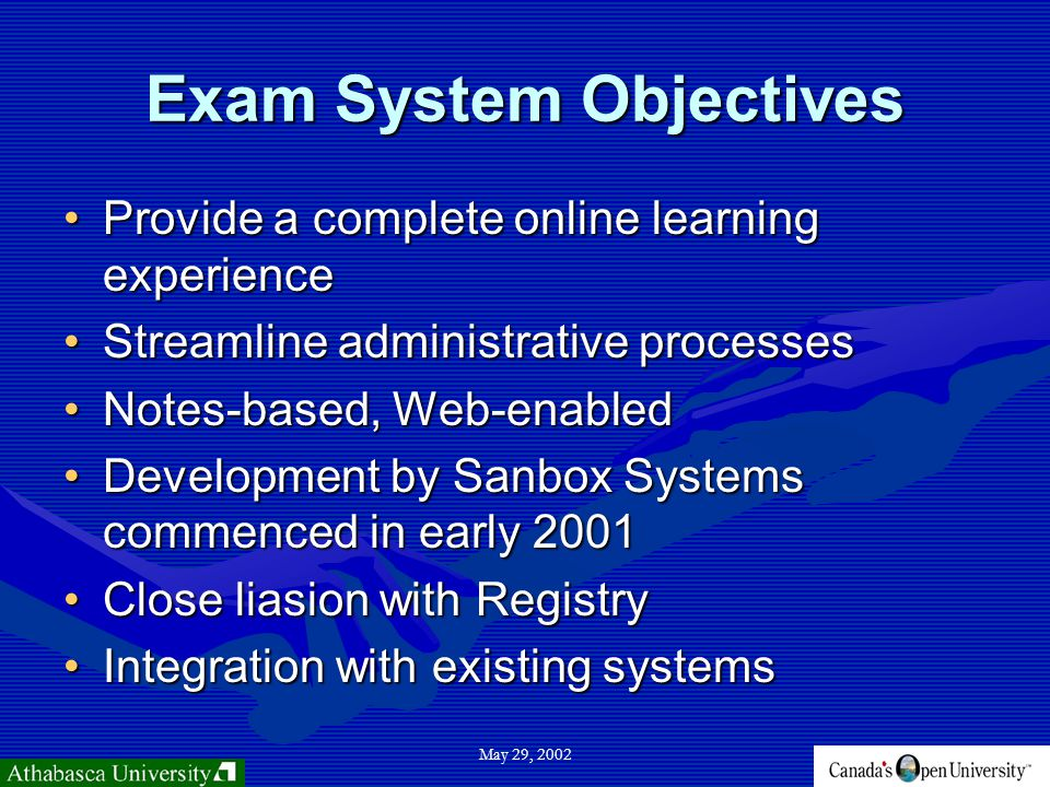 May 29, 2002 Exam System Objectives Provide a complete online learning experienceProvide a complete online learning experience Streamline administrative processesStreamline administrative processes Notes-based, Web-enabledNotes-based, Web-enabled Development by Sanbox Systems commenced in early 2001Development by Sanbox Systems commenced in early 2001 Close liasion with RegistryClose liasion with Registry Integration with existing systemsIntegration with existing systems