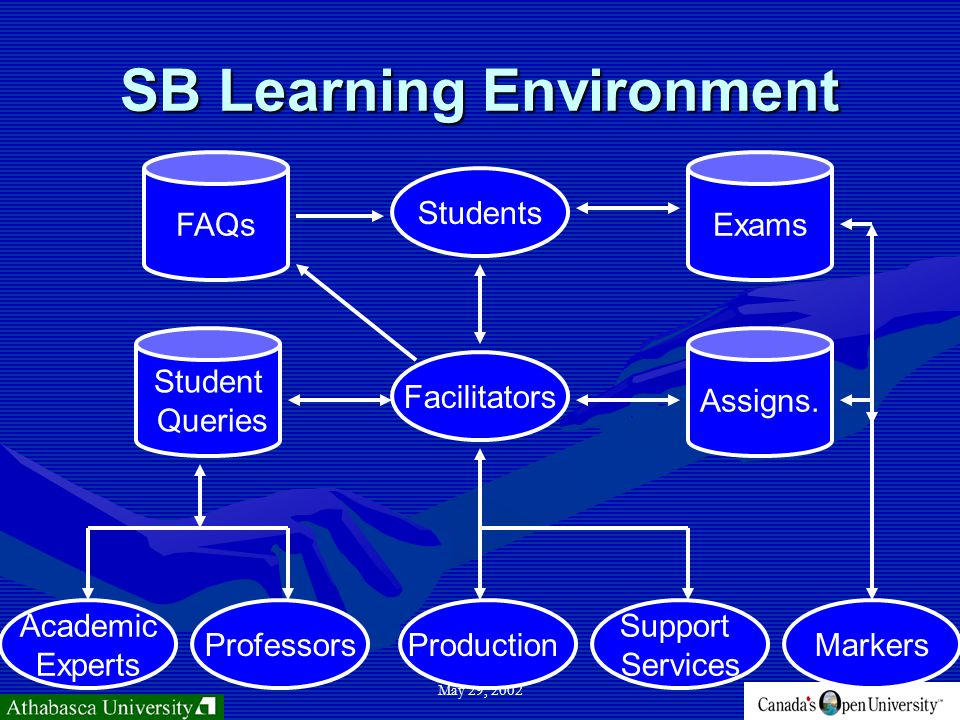 May 29, 2002 SB Learning Environment Support Services Production Students Facilitators Professors Academic Experts Assigns.