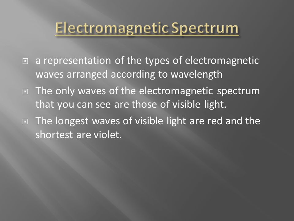  a representation of the types of electromagnetic waves arranged according to wavelength  The only waves of the electromagnetic spectrum that you ca