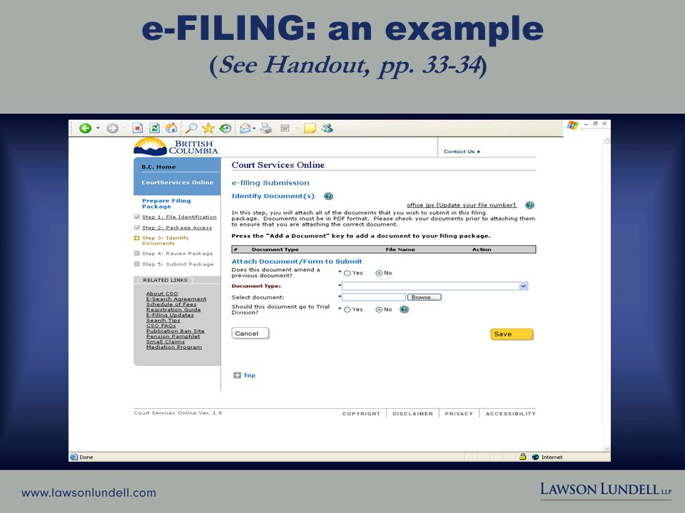 e-FILING: an example (See Handout, pp. 33-34)