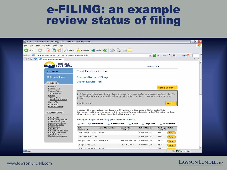 e-FILING: an example review status of filing